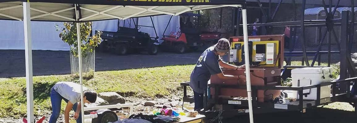 Students from Appalachian State set up at LEAF festival