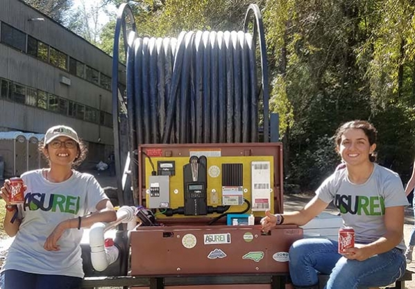 Student set up microhydro system