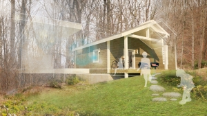 This concept rendering for the App Builds a Home project shows the outside of the home. When creating design elements for the home, Appalachian's IDEXlab team considered cost, comfort, energy performance, constructability and environmental benefits.