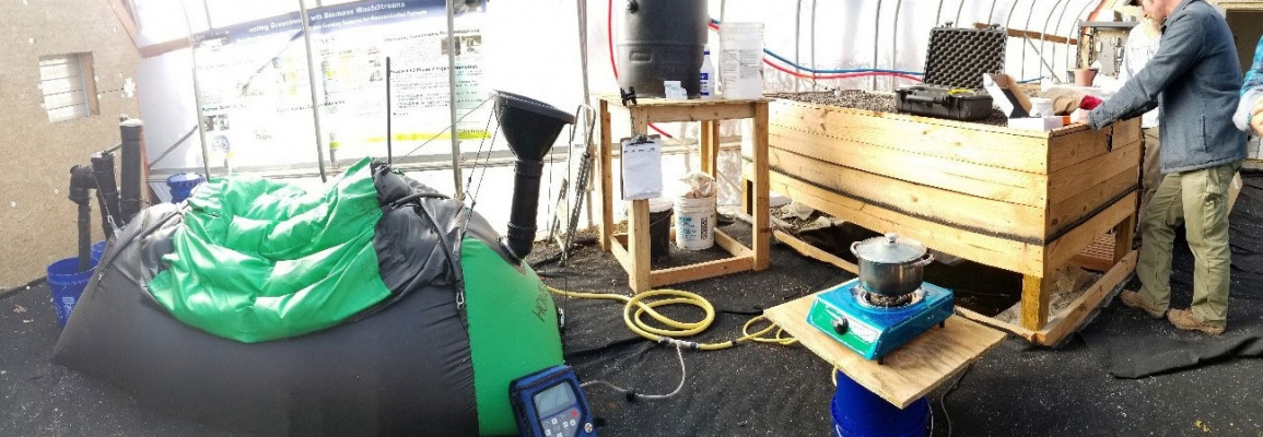Dr. Jeremy Ferrell measures methane concentration and demonstrates boiling water with clean burning biogas.