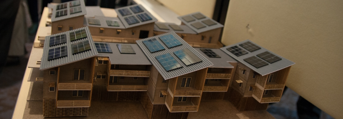 Model of a house with solar panels
