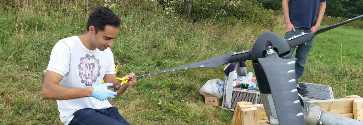 Student working on wind turbine blade