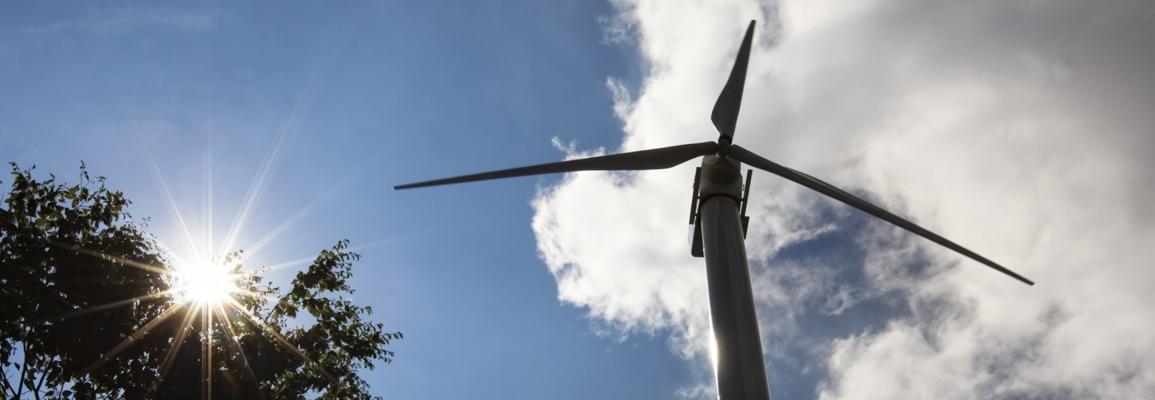wind turbine in the sunlight